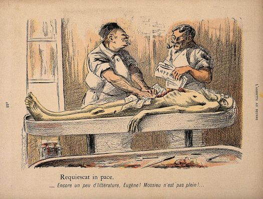 An_old_vagrant's_corpse_is_stuffed_with_newspaper_after_bein_Wellcome_V0011832